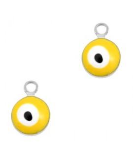 Colgante ojo turco/nazar dorado-amarillo 9x6mm paso 1,5mm, LATÓN baño de plata