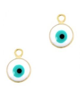 Colgante ojo turco/nazar dorado-blanco 9x6mm paso 1,5mm, LATÓN baño de oro