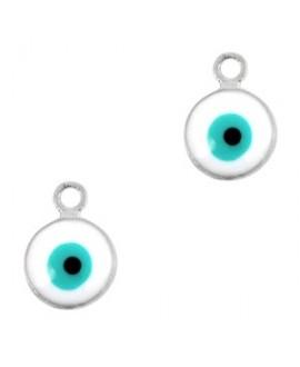 Colgante ojo turco/nazar plateado-blanco 9x6mm paso 1,5mm, LATÓN baño de plata
