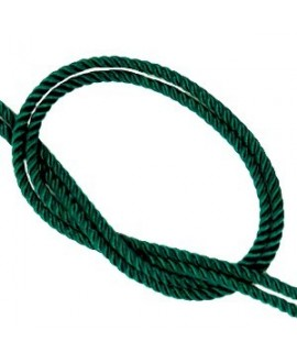 Cordón trendy tejido Verde pino 2mm, venta por metro