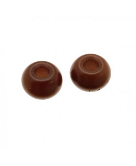 Donut de vidrio marrón mate de 7x4mm, paso 2,4mm, precio por 20 unidades
