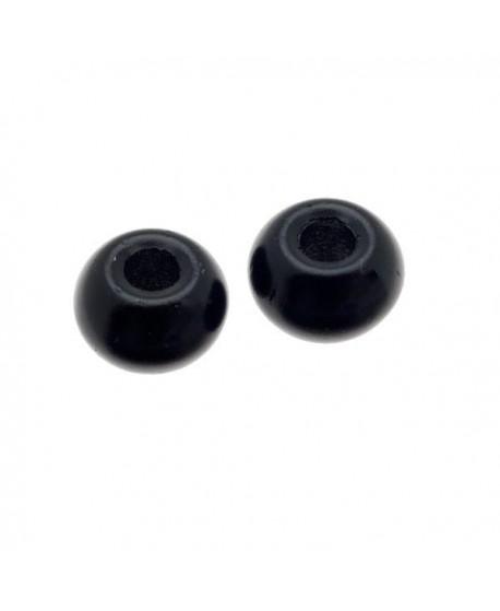 Donut de vidrio negro mate de 7x4mm, paso 2,4mm, precio por 20 unidades