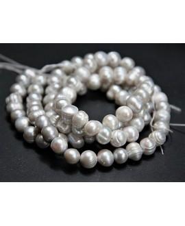 Perla de río gris claro 8mm, precio por ristrade 40cm