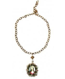 Collar medalla religiosa bordada a mano, largo 40/42cm