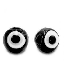 Entre-pieza/cuenta de cristal, ojo turco/nazar 6mm, negro