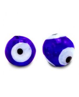 Entre-pieza/cuenta de cristal, ojo turco/nazar 6mm, azul cobalto