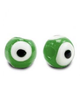 Entre-pieza/cuenta de cristal, ojo turco/nazar 6mm, verde