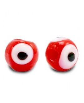 Entre-pieza/cuenta de cristal, ojo turco/nazar 6mm, rojo