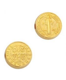Entre-pieza medalla de San Benedicto 9mm paso 2mm, zamak baño de oro