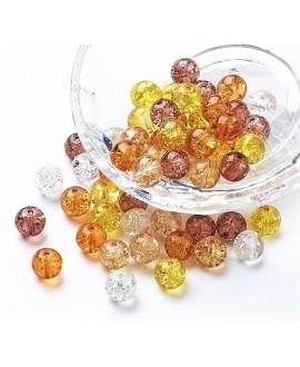 Cuenta de vidrio craquelado caramelo 8mm, paso 1mm precio por 100 unidades aprox