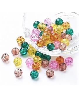 Cuenta de vidrio craquelado otoño 8mm, paso 1mm precio por 100 unidades aprox