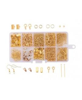 Kits para joyería de latón, incluye caja de cuentas