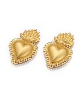 Colgante corazón 40x25x3.5mm paso 1,5mm, metal oro mate
