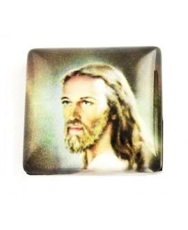 Cabujón cristal cuadrado jesús, fondo plano 10mm