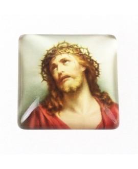 Cabujón cristal cuadrado jesús, fondo plano 20x20mm