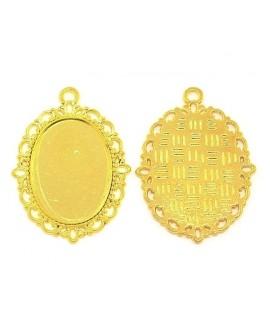 Base cabujón oval plano dorado 40x29x2mm, para cabujón de 25x18mm,  paso 2mm