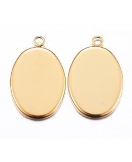 Base cabujón acero inoxidable oval plano dorado  22x14x1.5mm, para cabujón de 18x13mm,  paso 1,5mm