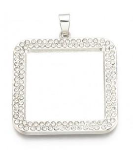 Base cabujón con cristales 36.5x33.5x2.5mm para piedra plana de 25x25mm metal