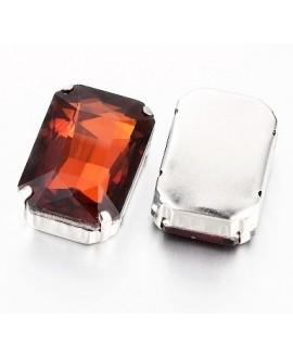Diamante de imitación rectángulo facetado para coser 27x18x10mm, topaz