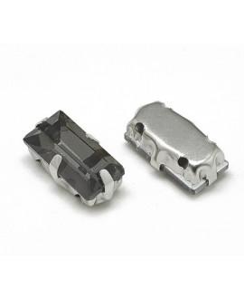 Diamante de imitación rectángulo para coser 10x5x4mm, black diamond, precio por 5 unidades