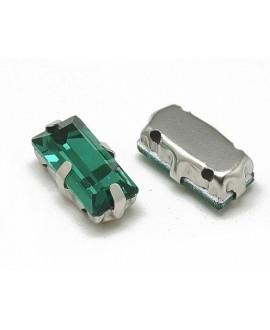 Diamante de imitación rectángulo para coser 10x5x4mm, esmeralda, precio por 5 unidades