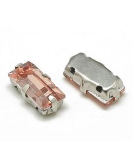 Diamante de imitación rectángulo para coser 10x5x4mm, rosa vintage, precio por 5 unidades