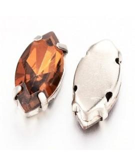 Diamante de imitación Navette para coser 15x7x5mm, topaz, precio por 5 unidades
