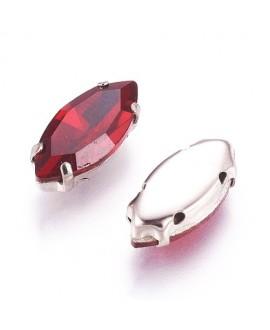 Diamante de imitación Navette para coser 15x7x5mm, siam, precio por 5 unidades