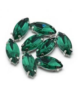 Diamante de imitación Navette para coser 10x5x4mm, púrpura, precio por 5 unidades