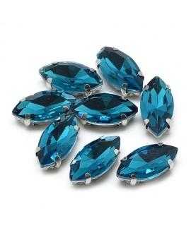 Diamante de imitación Navette para coser 10x5x4mm, turquesa, precio por 5 unidades
