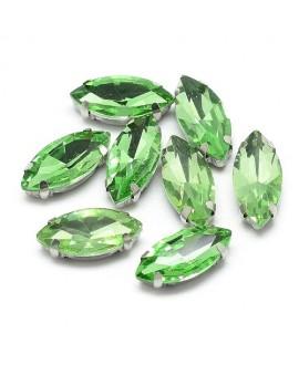 Diamante de imitación Navette para coser 8x4x3.5mm, peridot, precio por 5 unidades