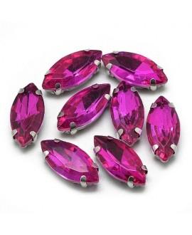 Diamante de imitación Navette para coser 8x4x3.5mm, fucsia, precio por 5 unidades