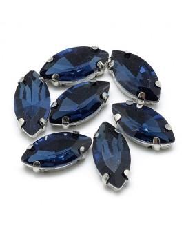 Diamante de imitación Navette para coser 10x5x4mm, montana, precio por 5 unidades