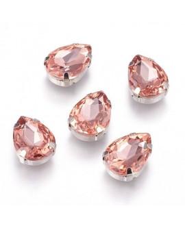Diamante de imitación Navette para coser 13x18x7mm, light rose, precio por 3 unidades