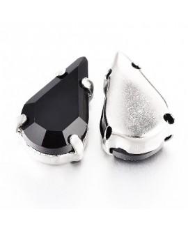 Diamante de imitación gota para coser 13x18x7mm, jet, precio por 5 unidades