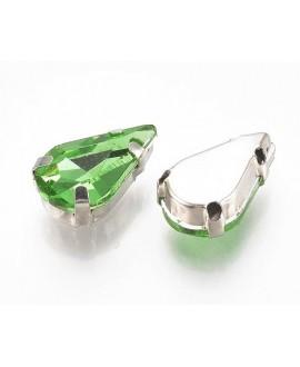 Diamante de imitación gota para coser 13x8x7mm, peridot, precio por 5 unidades