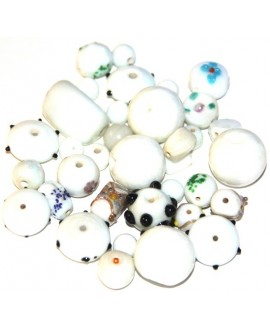 Cristal indio mix pequeñas  blanco, precio por 100 gramos