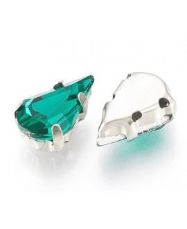 Diamante de imitación gota para coser 13x8x7mm, verde mar, precio por 5 unidades