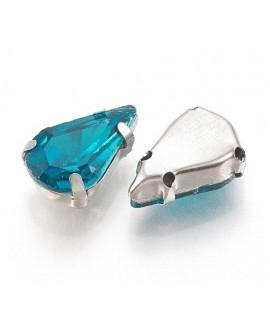 Diamante de imitación gota para coser 13x8x7mm, turquesa, precio por 5 unidades