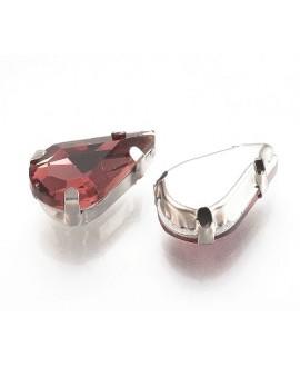Diamante de imitación gota para coser 13x8x7mm, burgundy, precio por 5 unidades