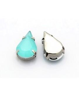 Diamante de imitación gota para coser 10x6x4.5mm, light turquesa opal, precio por 10 unidades