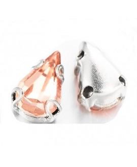 Diamante de imitación gota para coser 8x6x4mm, melocotón, precio por 10 unidades