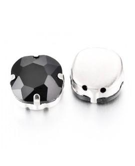 Diamante de imitación Navette para coser 12x12x6.5 mm, jet, precio por 5 unidades