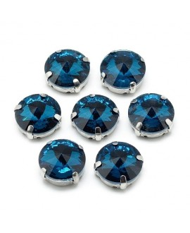 Diamante de imitación Navette para coser   9x6.3mm, montana, precio por 5 unidades