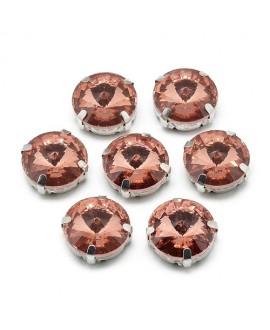 Diamante de imitación Navette para coser   9x6.3mm, rosa vintage, precio por 5 unidades