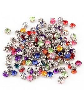Diamante de imitación acrílico para coser  6x6x5mm, mix color, precio por 100 unidades