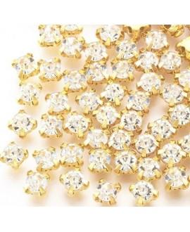 Diamante de imitación para coser  3x2.5mm, cristal, precio por 100 unidades