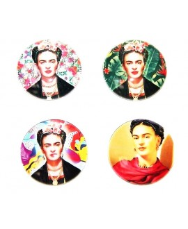 Cabuchón cristal Frida Kahlo 40mm, fondo plano