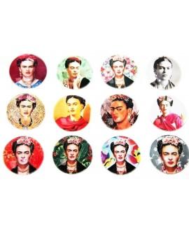 Cabuchón cristal Frida Kahlo 30mm, fondo plano