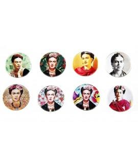 Cabuchón cristal Frida Kahlo 25mm, fondo plano
